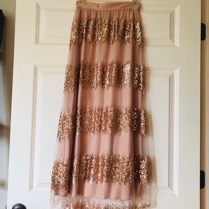 NWT Anthropologie Rose Gold Tulle/Sequenced Skirt